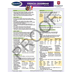 SCHOOL SUPPLIES - French Grammar Language Quick Reference Guide