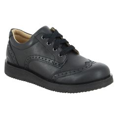 SHOES - Traditional Black Leather Oxford Shoes with Laces